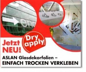 Glasdekorfolie mit Dryapply-Technologie für Schriften und Logos auf Glas.